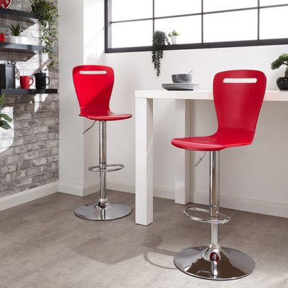 An Image of Long Island Red Wooden Gas-lift Bar Stools In Pair