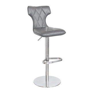 An Image of Ava Grey Faux Leather Bar Stool With Stainless Steel Base