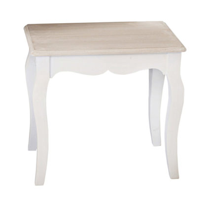 An Image of Julian Wooden Dressing Stool In Cream