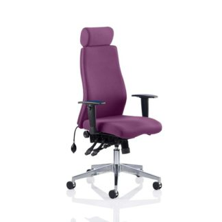 An Image of Penza Office Chair In Tansy Purple With Adjustable Arms