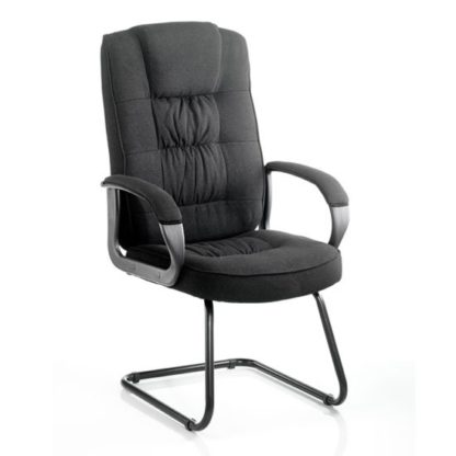 An Image of Moore Fabric Cantilever Visitor Chair In Black With Arms