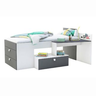 An Image of Kimberley Children Bed In Pearl White And Graphite Grey