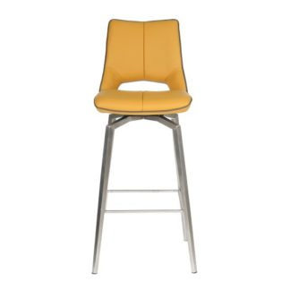 An Image of Loft Bar Chair In Medallion Yellow Brushed Stainless Steel Legs