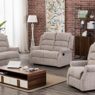 An Image of Curtis Fabric Recliner 2 Seater Sofa In Natural