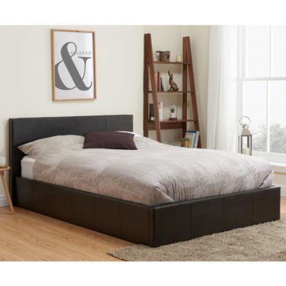 An Image of Berlin Fabric Ottoman Double Bed In Brown