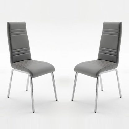 An Image of Dora Dining Chair In Grey Faux Leather In A Pair
