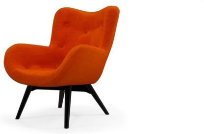 An Image of Custom MADE Doris Accent Armchair, Citrus Orange Velvet with Black Wood Leg