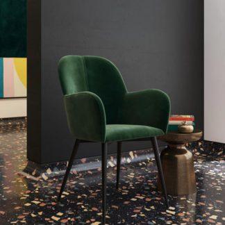 An Image of Fitz Velvet Bedroom Chair In Green