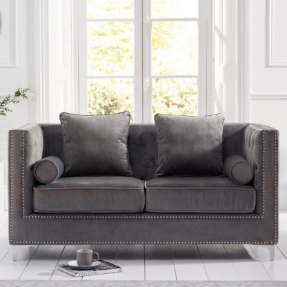 An Image of Mulberry Modern Fabric 2 Seater Sofa In Grey Velvet