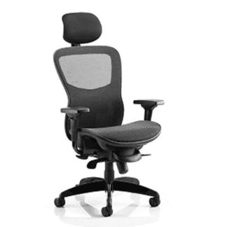 An Image of Stealth Shadow Ergo Headrest Office Chair In Black Mesh Seat