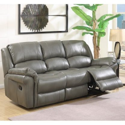 An Image of Claton Recliner 3 Seater Sofa In Grey Faux Leather