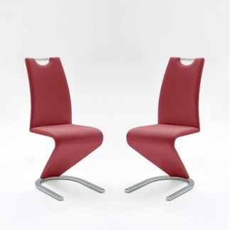 An Image of Amado Dining Chair In Bordeaux Faux Leather In A Pair