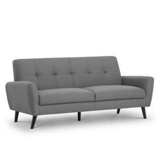 An Image of Aldonia Fabric 3 Seater Sofa In Mid Grey Linen With Wooden Legs