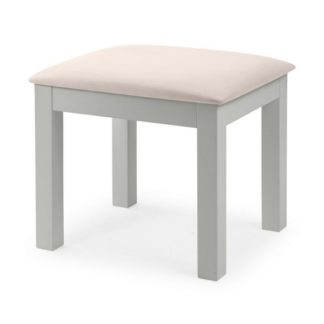 An Image of Cheshire Dressing Stool In Dove Grey Lacquer Finish