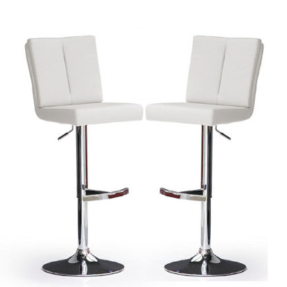 An Image of Bruni Bar Stools In White Faux Leather in A Pair
