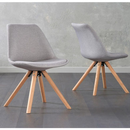 An Image of Tupa Light Grey Fabric Chairs In Pair With Round Leg
