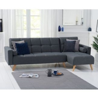 An Image of Headen Linen Right Hand Facing Chaise In Grey With Wood Legs