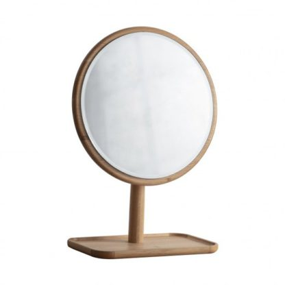 An Image of Kingham Dressing Mirror With Wooden Stand In Oak