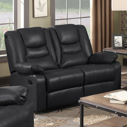 An Image of Gruis LeatherGel And PU Recliner 2 Seater Sofa In Black