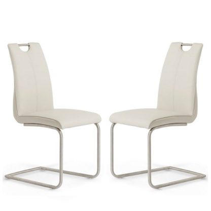 An Image of Harley Dining Chair In Taupe Faux Leather In A Pair
