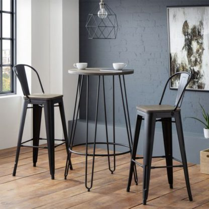 An Image of Dalston Bar Set In Mocha Elm With 2 Grafton Bar Stools