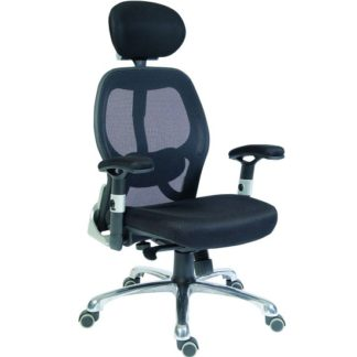 An Image of Hendon Home Office Chair In Black Mesh With Castors