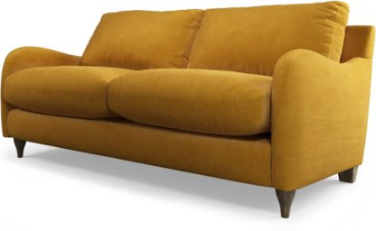 An Image of Custom MADE Sofia 2 Seater Sofa, Plush Tumeric Velvet with Light Wood Legs