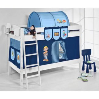 An Image of IDA BOB Children Bunk Bed In White With Curtains