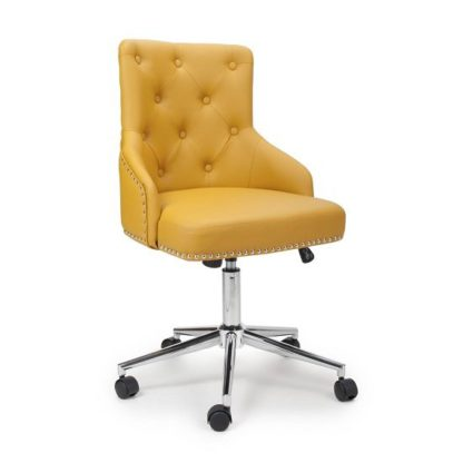 An Image of Calico Office Chair In Yellow Leather Match With Chrome Base