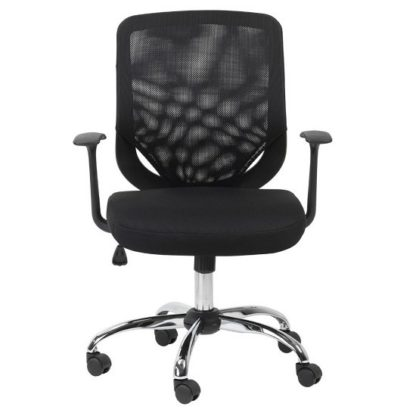 An Image of Atlanta Home And Office Chair In Black With Fabric Seat