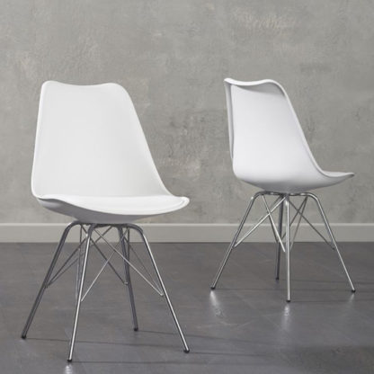 An Image of Crater White Faux Leather Dining Chairs In Pair