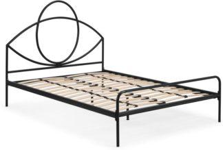 An Image of Josefa Double Bed, Black Metal