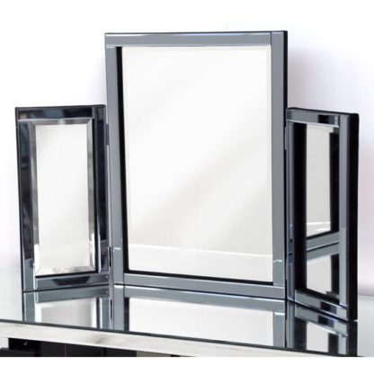 An Image of Bevel Classic Table Top Mirror In Smoke Grey Glass Border