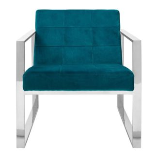 An Image of Sceptrum Velvet Cocktail Chair In Teal