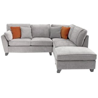 An Image of Barresi Chenille Fabric Right Hand Corner Sofa In Silver Finish