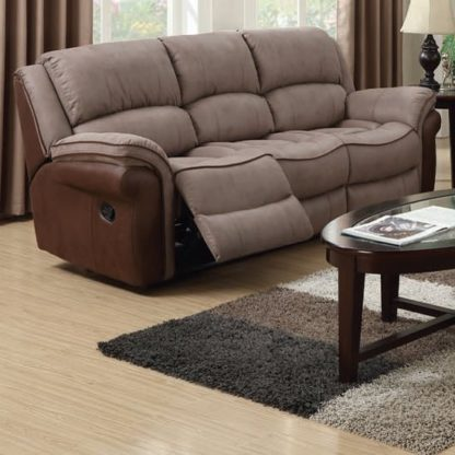 An Image of Lerna Fusion Fabric 3 Seater Sofa In Taupe And Tan