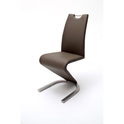 An Image of Amado Z Brown Faux Leather Metal Swinging Dining Chair