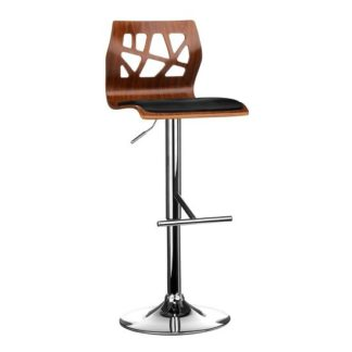 An Image of Ivana Bar Stool In Walnut And Black PU Seat With Chrome Base