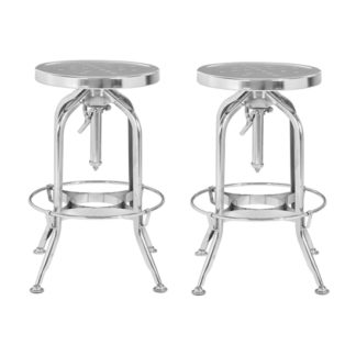 An Image of Dofida Silver Adjustable Metal Bar Stools In Pair