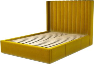 An Image of Custom MADE Cory Double size Bed with Drawers, Saffron Yellow Velvet