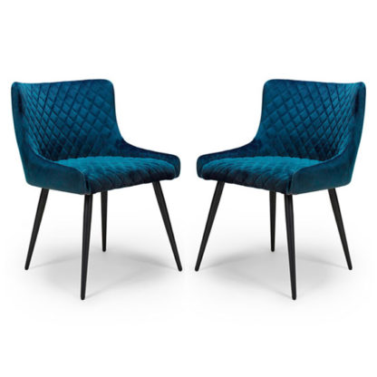 An Image of Malmo Blue Velvet Fabric Dining Chair In A Pair
