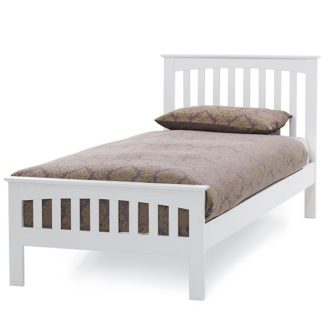 An Image of Amelia Hevea Wooden Single Bed In Opal White