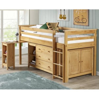 An Image of Pegasus Midi Sleeper Bed In Antique Pine With Storage And Desk