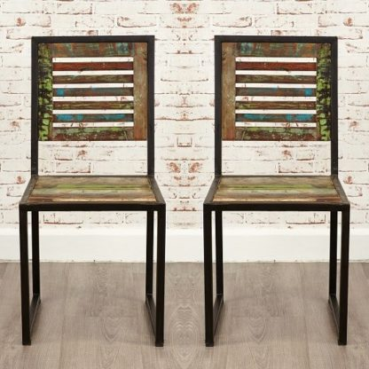 An Image of London Urban Chic Wooden Dining Chair In A Pair