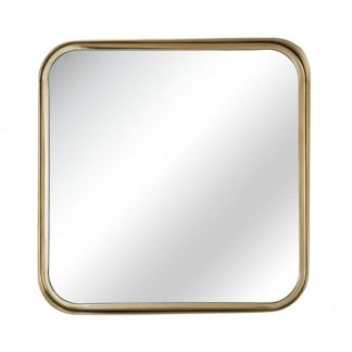 An Image of Alasia Square Bedroom Mirror In Gold Frame