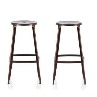 An Image of Bryson 66cm Metal Bar Stools In Antique Bronze In A Pair