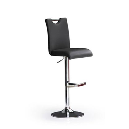 An Image of Bardo Black Bar Stool In Faux Leather With Round Chrome Base
