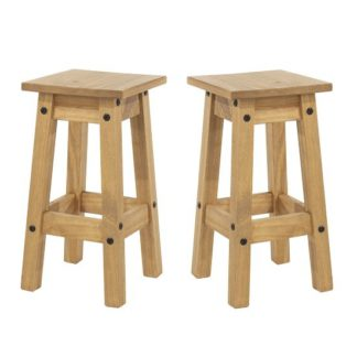 An Image of Corina Wooden Kitchen Stools In Antique Wax In A Pair