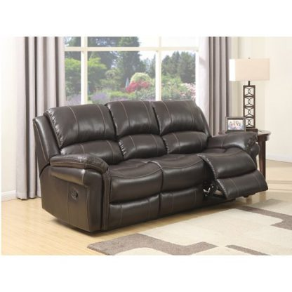 An Image of Claton Recliner 3 Seater Sofa In Brown Faux Leather