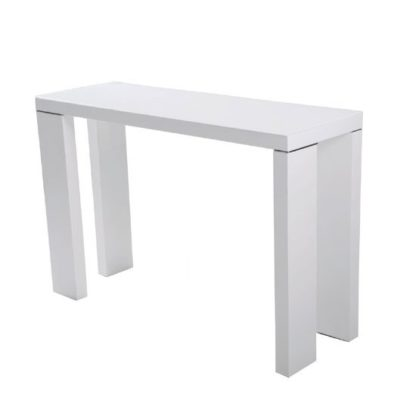 An Image of Giovanni Glass Top Console Table in White With High Gloss Legs